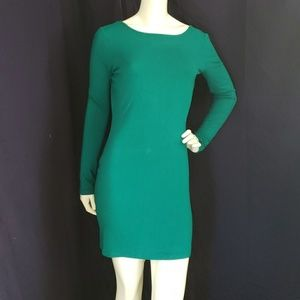 FOREVER 21 teal bodycon long sleeve dress